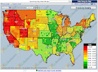 USA National GAS Temperature Map