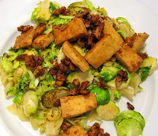 The Airy Way: Caramelized tofu with pecans and Brussels sprouts