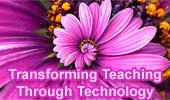 Abstract picture with statement: transforming teaching through technology