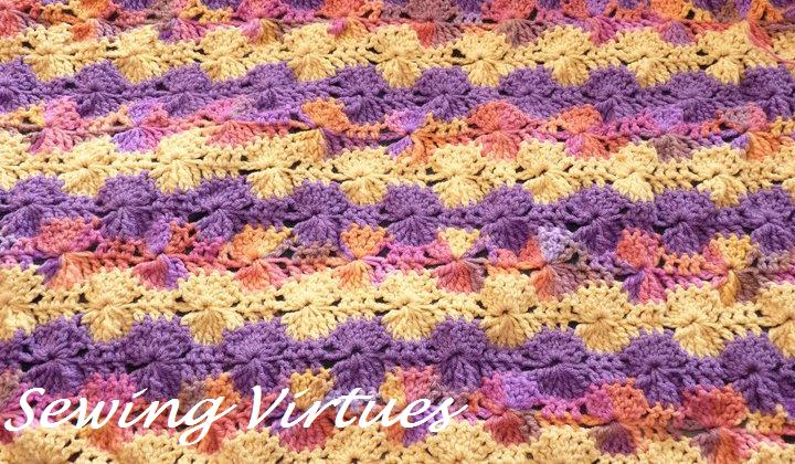 Antique Vintage Handmade Crochet *Wagon Wheel Pattern* Scarf