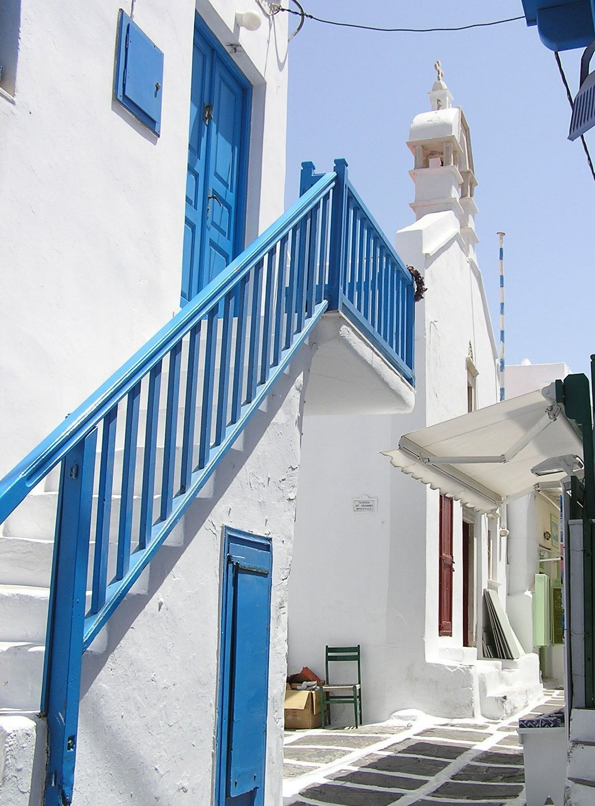 stairs, mykonos, greece