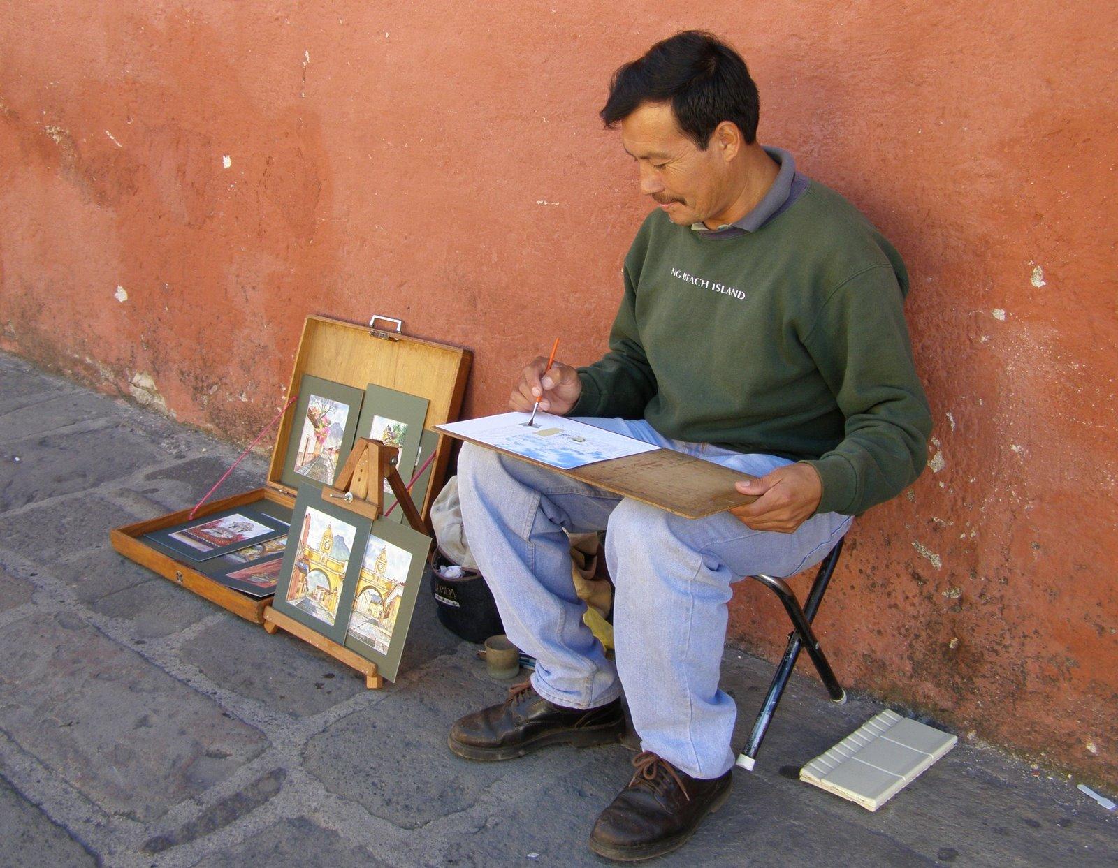 street artist, antigua guatemala