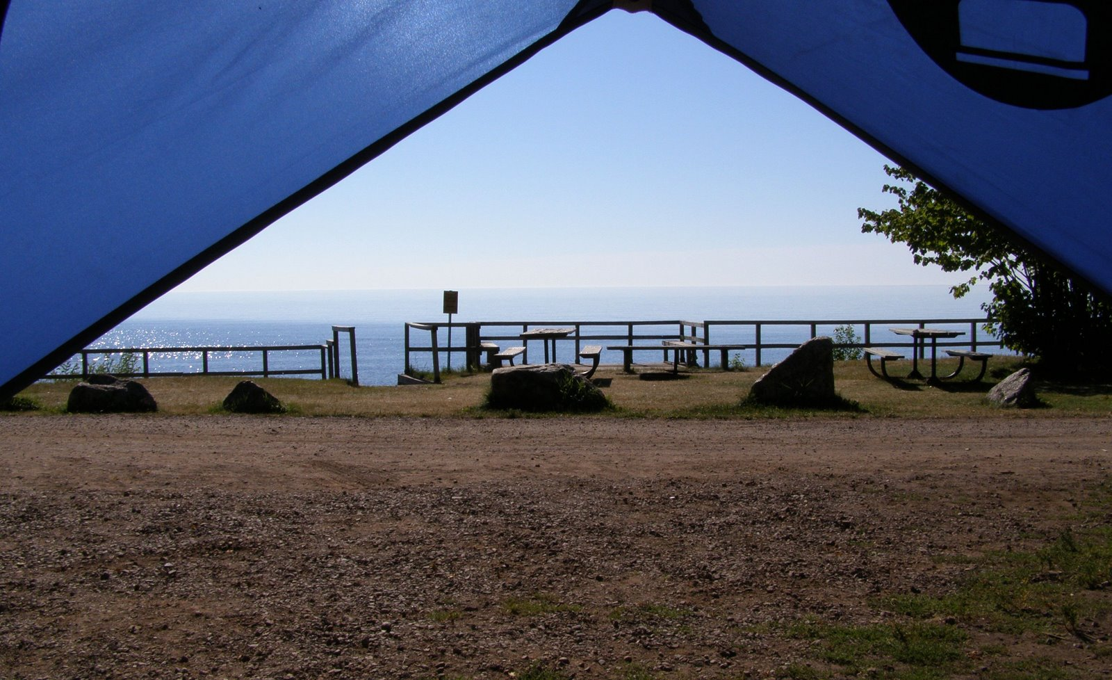view of lake superior from tent, temperance state park
