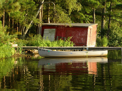 boat house, canoe, lake