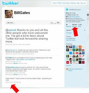 Bill Gates' Twitter page