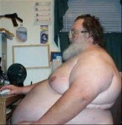 Fat person on computer