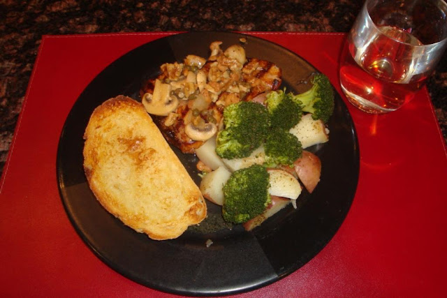 Grilled Swordfish W/Shrimp Sauce, Steamed Veggies, & Sourdough Bread