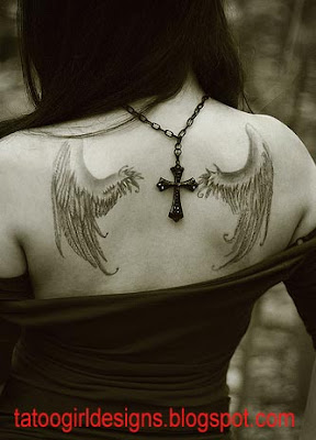 pretty girl angelwings tattoo style