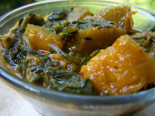 Red Pumpkin and Spinach, Paanch-Phoran, Bengali Five Spice