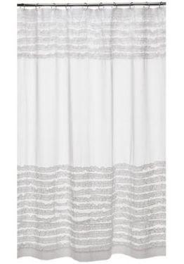 Name 5 Things Ruffled White Shower Curtain