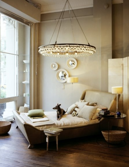 [dog+on+bed_lightbulb+chandelier+cream+convex+mirror_Anna+Wolf.jpg]