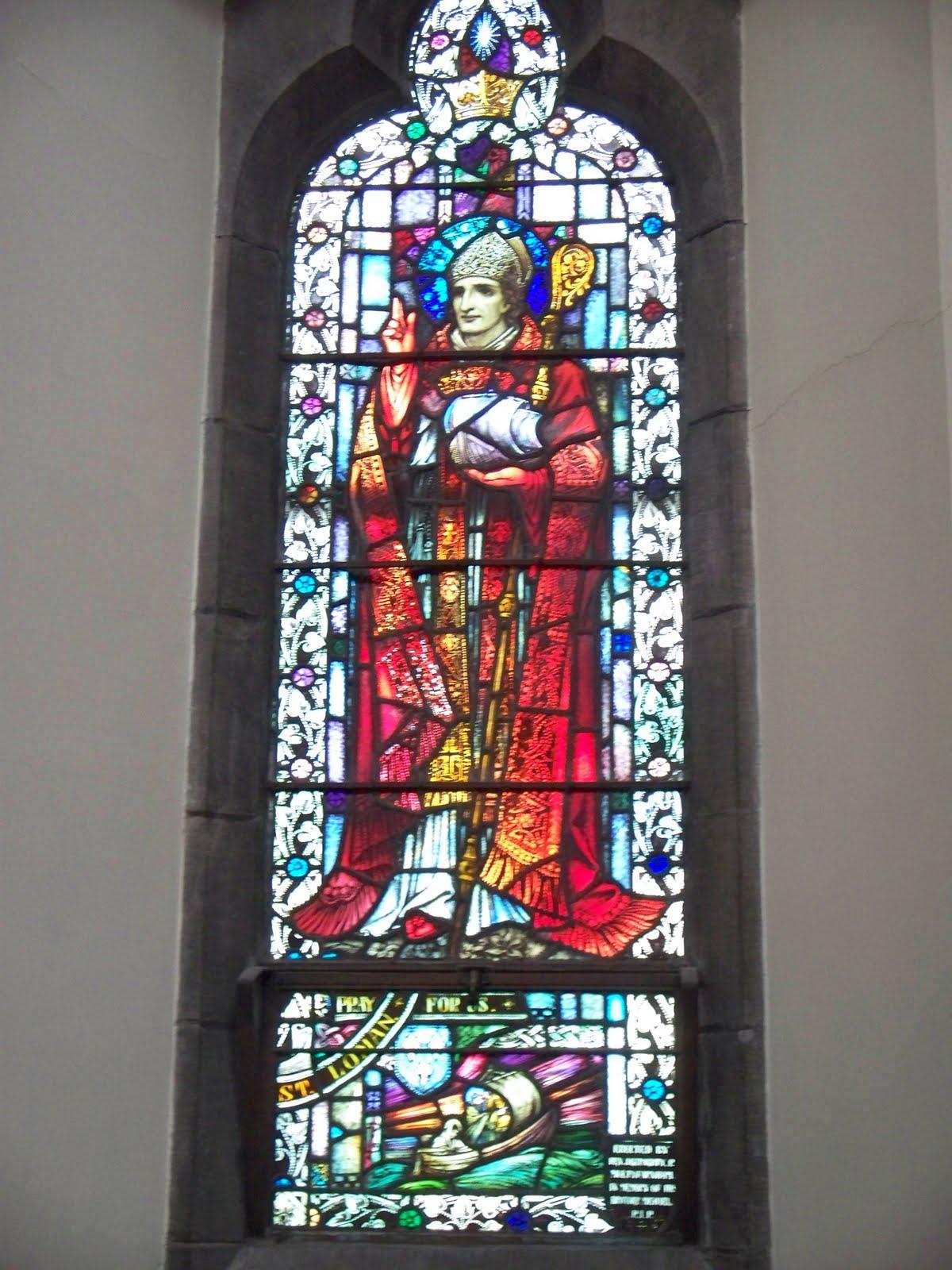 Den hellige Loman, glassmaleri i St. Patrick's i Trim