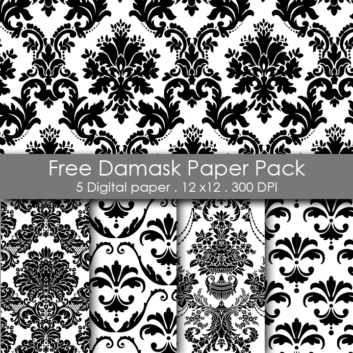 Free Printable white and black Damask Paper Pack 12x12 inch 300 DPI