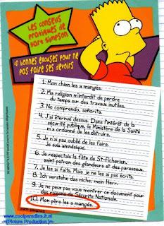 Humour et fle bart simpsons 10 bonnes excuses pour ne pas faire ses devoirs - Comment faire bart simpson ...