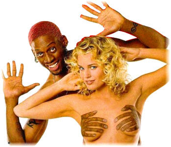Rodman Like Holding Chest, With Sexy Body Painting Art