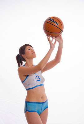 Asian Girl Basketball Show Her Body Art Painting