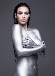 Kim Kardashian Amazing With Silver Sexy Body Art Painting