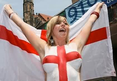 England Supporter So Sexy With Body Art Red And White Painting