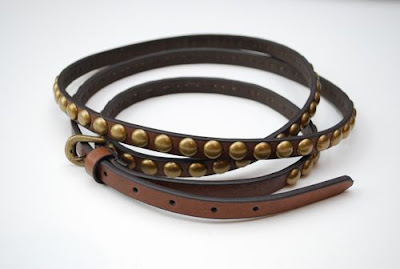 ALTER: Double Wrap Leather belt w/ gold studs :  punk alter brooklyn womens