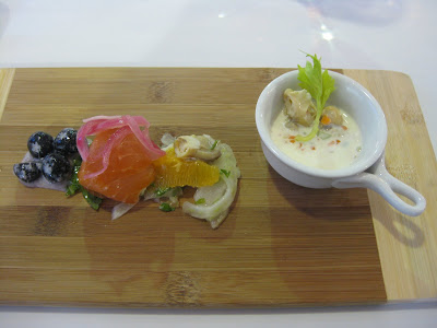 Main~ Butter-poached swordfish, sweet potato-corn hash, white wine ...