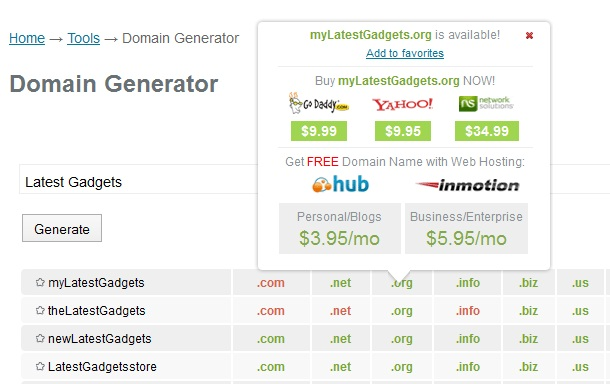PCNames Domain Generator Tool