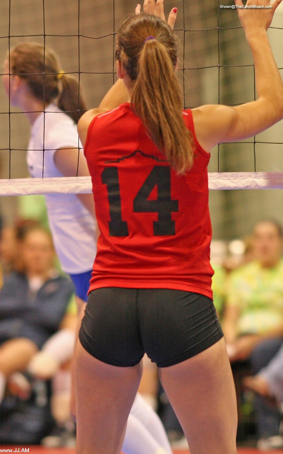 Volleyball butt in tight shorts