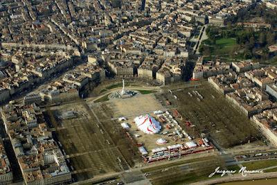 vue aerienne de la place des quinconces à Bordeaux