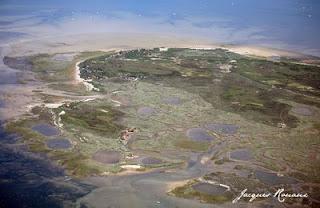 photo aérienne des cabanes de l'ile aux oiseaux