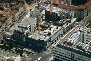 Vue aérienne du chantier de construction de l'îlot Bonnac à Bordeaux