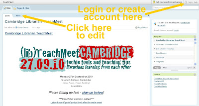 Screenshot of camlibtm page on PBWorks, showing how to login and edit