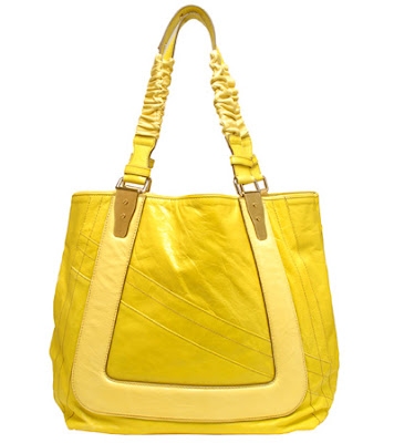 Yellow Chloe Shopper Handbag with Ruched Handles