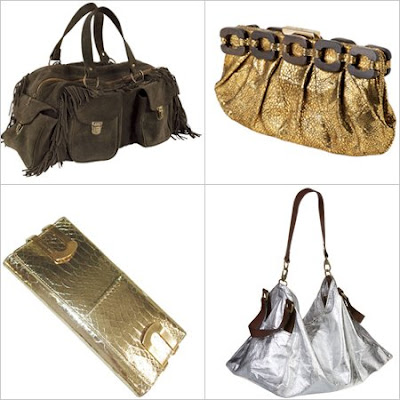 Martine Sitbon Silver Large Sac Bag, Anya Hindmarch Gold Clutch, Michael Kors Metallic Python Hinge Clutch, Antik Batik Fringed Suede Tote