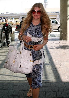 Celebrity Handbag Spotting: Fergie with the Michael Kors Ruched self-tie shoulder bag