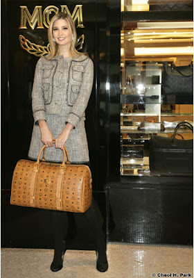 Ivanka Trump Loves MCM Visetos Marble Weekender Bag in Cognac