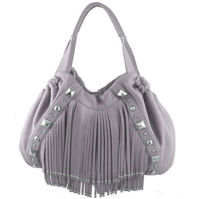 Lavender Fringed Leather Satchel by Cettu