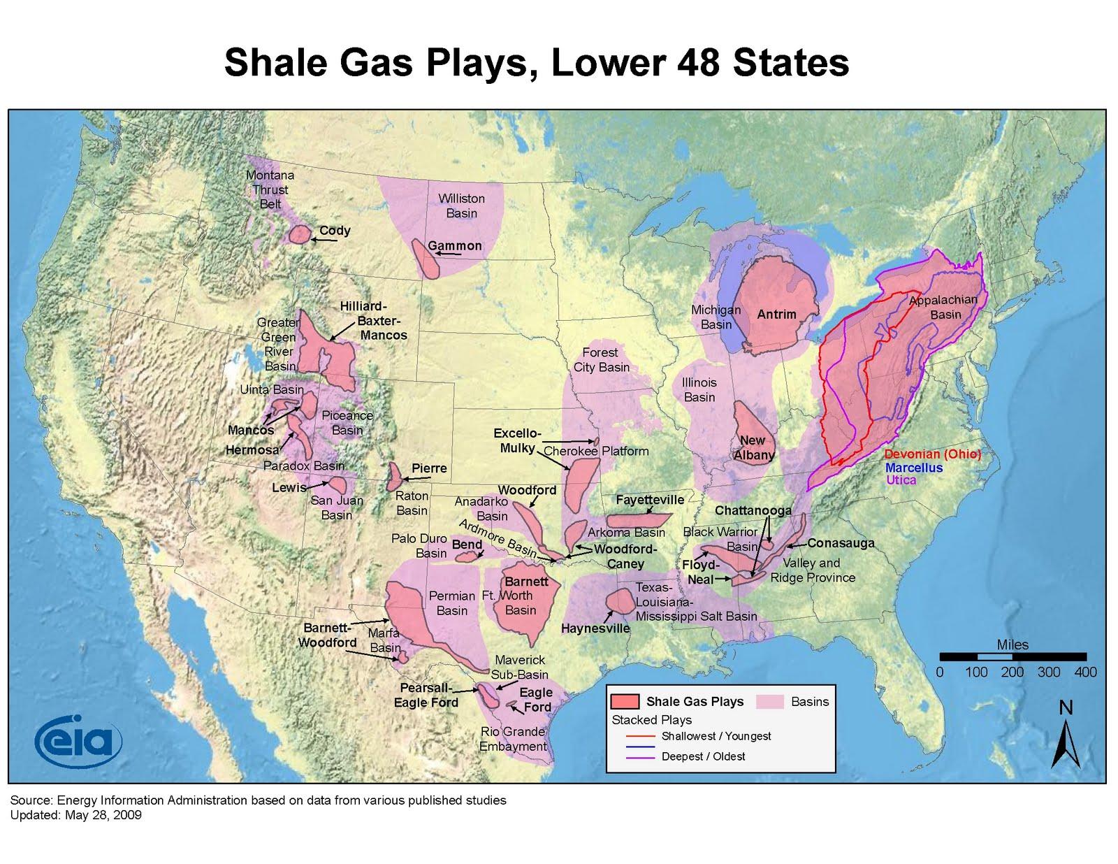 Al Fin US Lower Shale Gas Maps - Us gas map