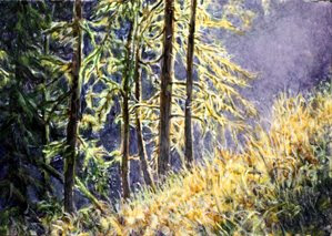Misty Glade painting by Shari Erickson