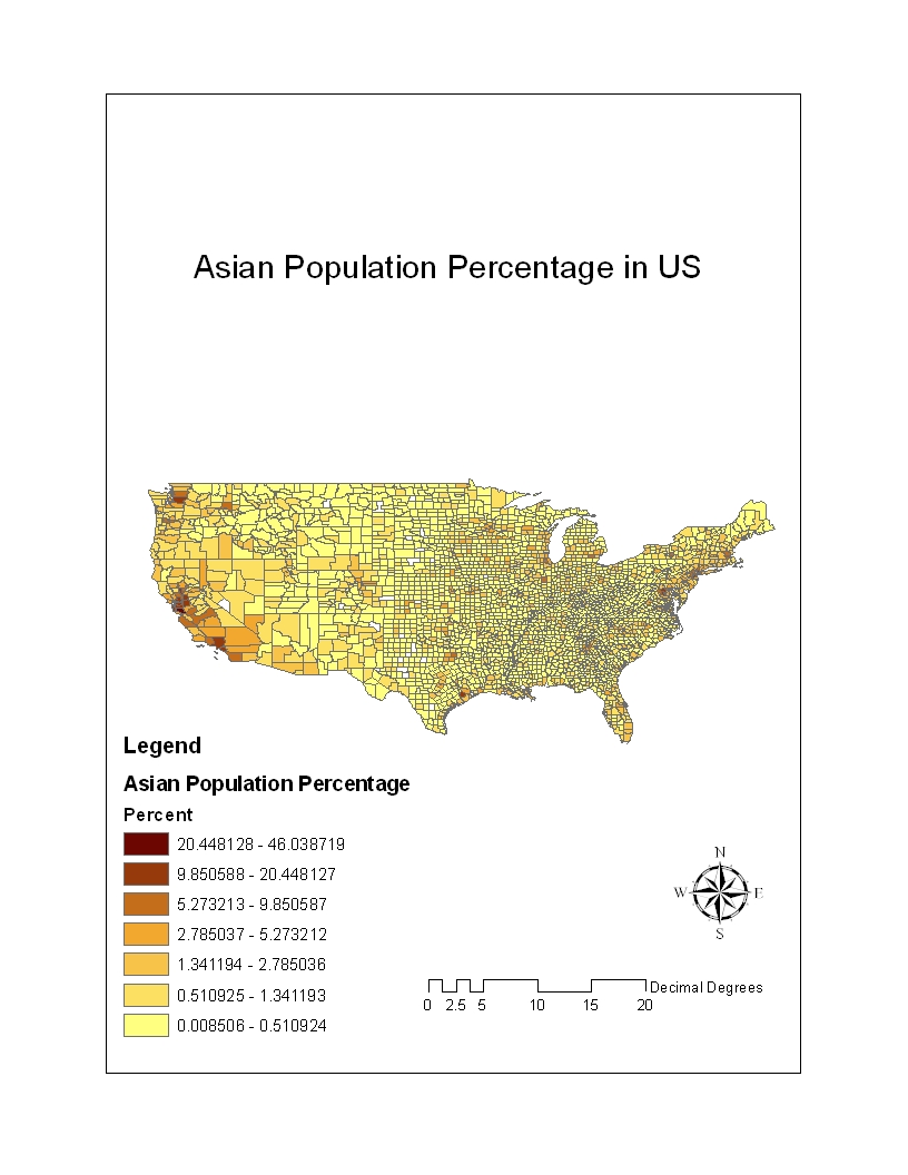 the asian population across the us is fairly small asians mostly reside on the west coast but there are certain areas in the east coast that have an asian