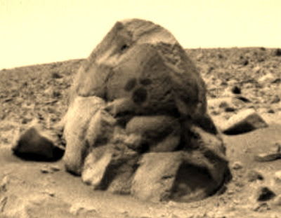 Mars rock formation with markings