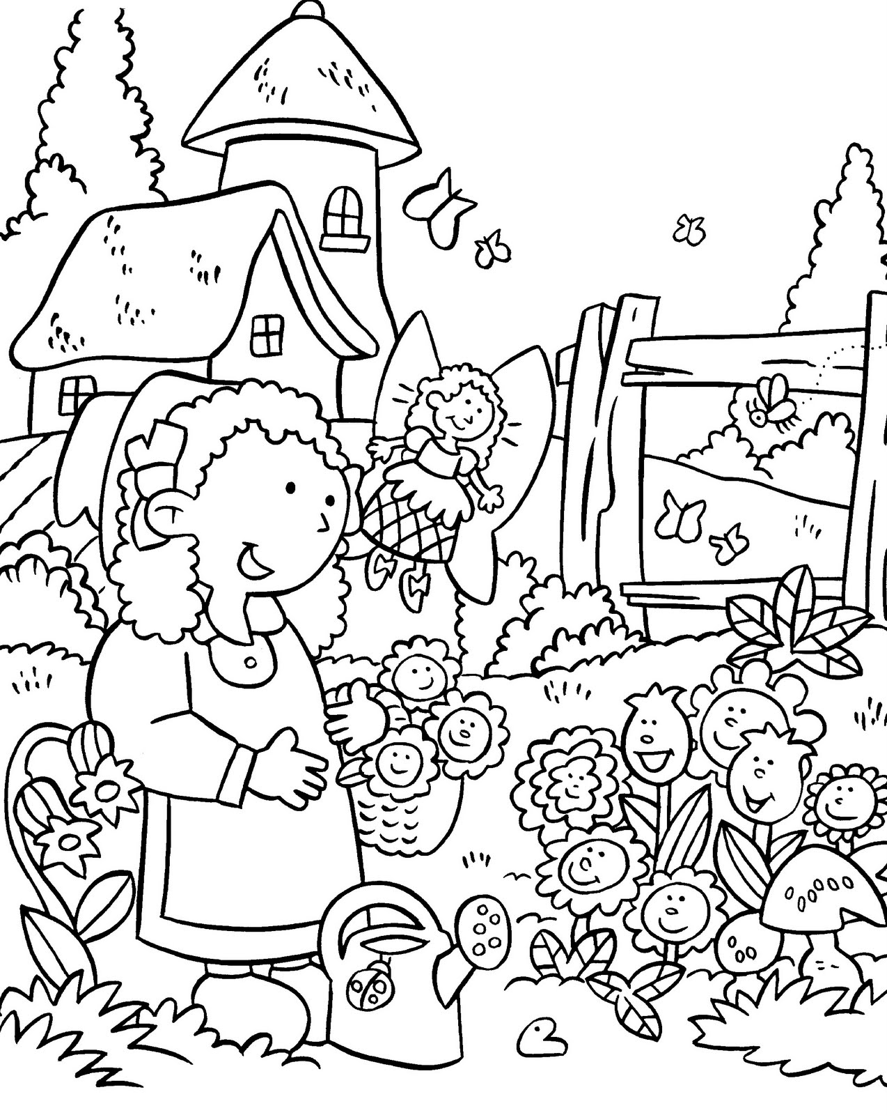 garden coloring page my little house anna and the flower garden coloring pages