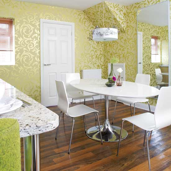 Walls wallpaper inspiration dining room for Wall decor ideas for dining area