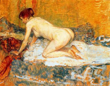 Crouching woman red hair