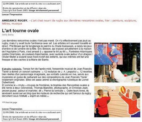 Revue de Presse - Sud Ouest 22/09/08
