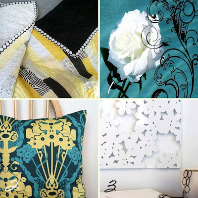 Teal and Yellow Pillow Cover by PillowMio 16