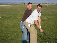 Aaron at the Driving Range Goofing around with his Best Friend Travis