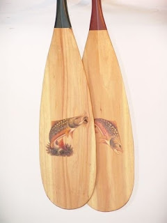 Pair Of Hand Painted Canoe Paddles With Leaping Fish One Handle Green The Other Red 57 1 2 High Condition Very Good