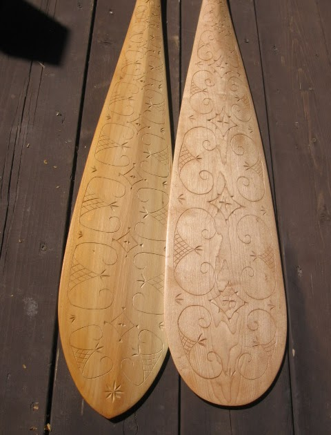Paddle making and other canoe stuff chip carved
