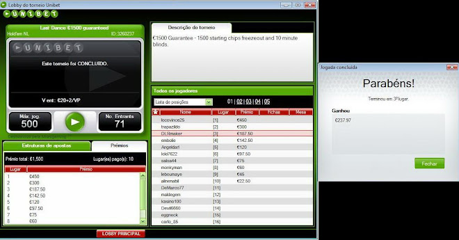 3º lugar (20€+2€ 1500gtd UNIBET)