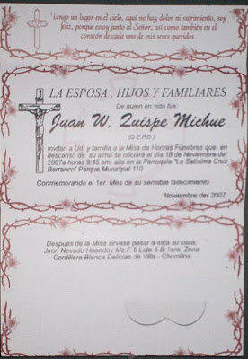 INVITACIÓN MISA DE HONRAS: WALBERTO QUISPE MICHUE
