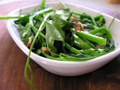 Sauteed Pea Shoots with Grainy Mustard Vinaigrette